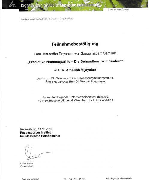 Seminar at Regensburger Institute for Classical Homeopathy